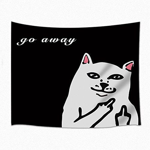 Cat Decor Tapestry Hip Hop Rock Hipster Cat Go Away Wall Hanging for Bedroom Living Room Dorm 71 X 60 Inches