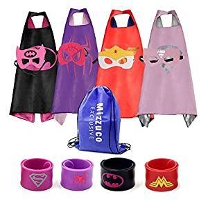 Kids Cartoon Dress up Costumes Satin Capes with Felt Masks and Exclusive Bag for Copslay Birthday Party (4Pack-Girls)