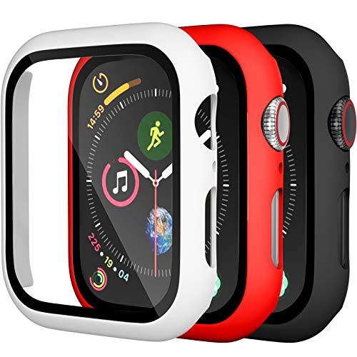 Charlam Compatible for Apple Watch Case 42mm iWatch Series 3 2 1 with Screen Protector Accessories Slim Guard Thin Bumper Full Coverage Hard Cover Defense Edge for Women Men, Black White Red, 3 Pack