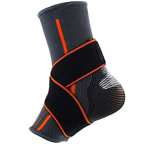 Beister 1 Pack Ankle Brace Compression Support Sleeve with Adjustable Elastic Strap for Women and Men, Sprain Plantar Fasciitis Foot Socks for Injury Recovery, Joint Pain, Achilles Tendon, Heel Spurs