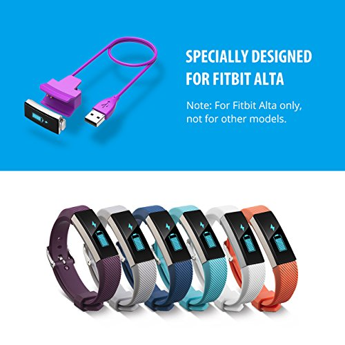 Cablor 2PCS Charger for Fitbit Alta, 30cm Fitbit Alta Replacement USB Charging Cable for Fibit Alta Band Wireless, Quality Power Charging Cord Purple (No reset button)