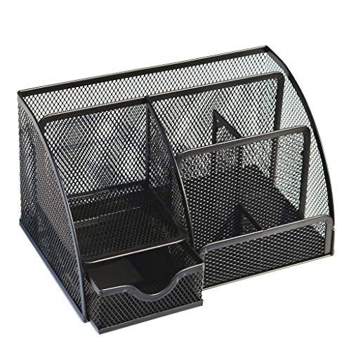 ℳodern Garden Multifunction office Desk Mesh Organizer with 6 Compartments and sliding drawer |The Mesh Collection Black