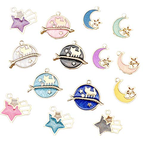 14 Pcs Cute Planet Moon Meteor Theme Floating Charm Pendant Enamel Sequins Dangle Gold Plated Dainty Ornament Synthetic Glass Living Memory for Necklace Bracelet Ankle Earring Jewelry ()