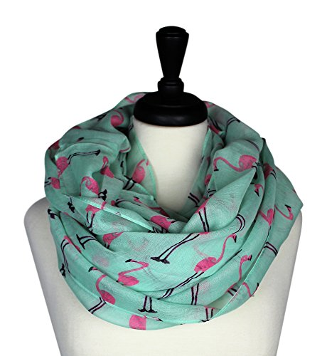 KnitPopShop Flamingo Infinity Scarf Soft (Turquoise and Pink) (Pink Flamingo Accessories)