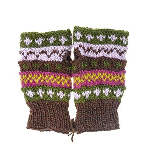Winter wonder soft fingerless Fleece Lined Hand Knit gloves-C.Brown from Lakhays