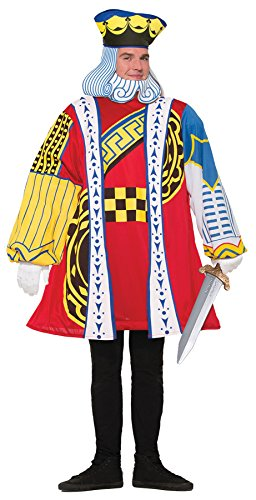 [UHC Men's King Of Hearts Playing Card Outfit Adult Halloween Costume, STD (up to 42)] (King Of Hearts Costumes For Adults)