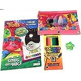 Trolls Color by Number Bundle (4) 12pk Color Pencils, 3 Ring Pencils Pouch, 48pg Color by Number Coloring Book (Plus a Free Star Pencil Sharpener)
