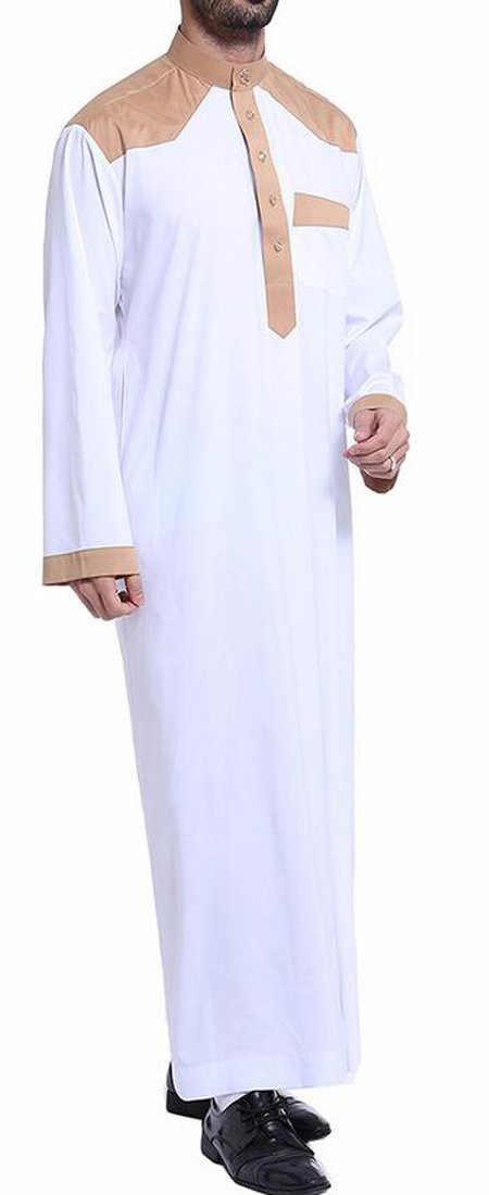 Cromoncent Mens Contrast Long Sleeve Muslim Casual Saudi Arab Robe Thobe Islamic Wear White M