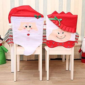 Cusfull 4pcs Housse De Chaise De Noel Chapeau De Pere Noel Et Mme