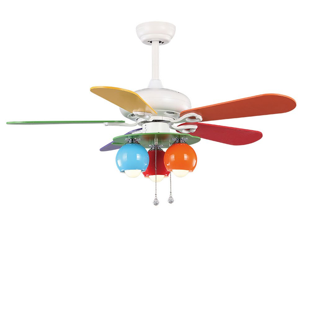 RainierLight Colourful Fanshion Kid Ceiling Fan 5 Wood Leaves Remote Control Protect Eyesight Mute For Bedroom/Living Room/Kids Room 42-Inch Children Round Circles Chandelier