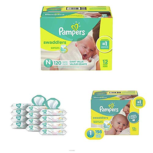 Pampers Bundle - Swaddlers Disposable Baby Diapers Sizes N, 120 Count &  1, 198 Count with Pampers Sensitive Water-Based Baby Wipes, 12 Pop-Top and Refill Combo Packs, 864 Count