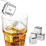 AmazeFan Food Grade Stainless Steel Wine Chilling Cubes, Multi Color Stainless Steel Reusable Wine Ice Cubes, Chilling Rocks, Whiskey Stones Pack of 8(4Golden Plus 4Silver(With Poker Suits))