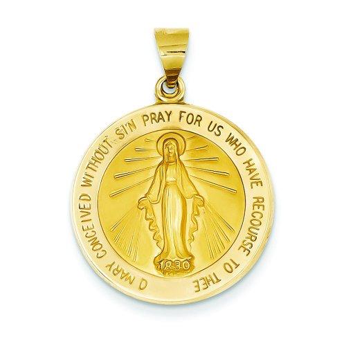 14K-Gold-Virgin-Mary-Medal-Charm-Religious-Pendant