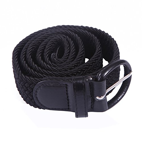 Wide Covered Buckle Belt (HDE Men's Elastic Braided Belt Woven Stretch Fabric with Covered)