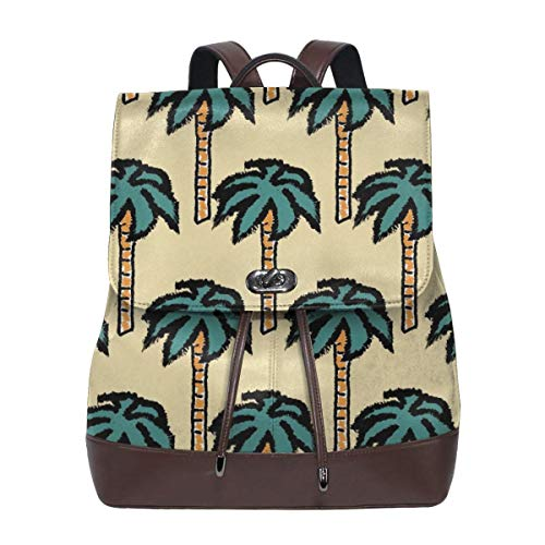 Fashion Leather Backpack Catch Me If You Can Palm Trees Purse Waterproof Anti Rucksack PU Leather Bags