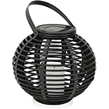 Outdoor Decorative Solar Powered Candle Lantern with Flickering Amber LED Rattan Light for Garden, Park, Patio, Yard, Home