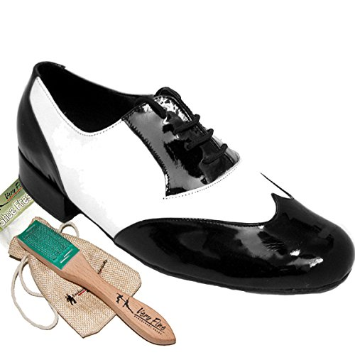 Mens Ballroom Dance Shoes Standard & Smooth Tango Wedding Salsa Shoes Black Patent & White Leather M100101EB Comfortable - Very Fine 1'' Heel 9 M US [Bundle of 5] by Very Fine Dance Shoes