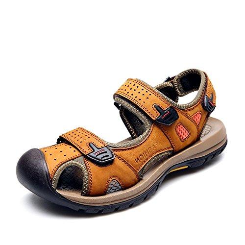 追放周波数仮称Ksmxos メンズ スポーツサンダル ウォーターシューズ スニーカー 靴 マジックテープ つま先保護 牛革 夏 ビーチ カジュアル アウトドア 通気性 快適 軽量 履き地よい 耐久性 お出かけ 防滑 通勤 通学 旅行 プレゼント 3色