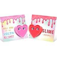 Valentines Day Cards for Kids - 24 Pack Slime Valentines - Party Favors Classroom Exchange Preschool Class