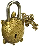 PARIJAT HANDICRAFT Functional Brass Beautiful Padlocks with Two Keys Garden Lock Functional Brass Turtle Padlock 5.5'' with Two Keys