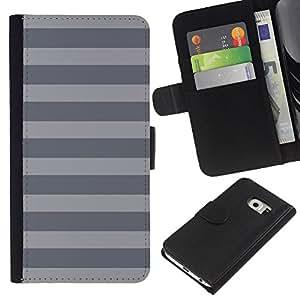 EJOY---La carpeta del tirón la caja de cuero de alta calidad de la PU Caso protector / Samsung Galaxy S6 EDGE / --Rayas Líneas Patrón Monotone