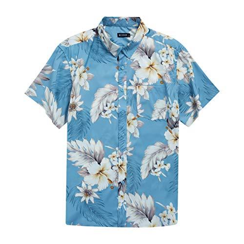 MCEDAR Men's Hawaiian Short Sleeve Shirt Aloha Flower Print Casual Button Down Standard Fit Beach Shirts (Medium,Blue flral 006) ()