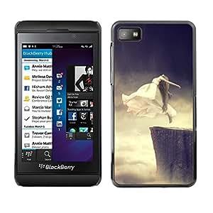 All Phone Most Case / Hard PC Metal piece Shell Slim Cover Protective Case Carcasa Funda Caso de protección para Blackberry Z10 Flying Ghost Jump Cliff Base Woman Art White