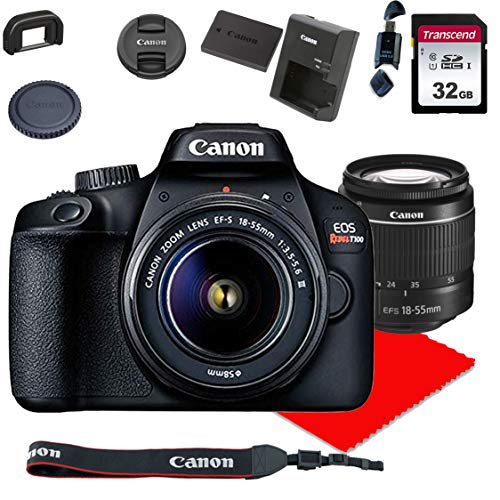 Canon EOS Rebel T100 DSLR Camera w/Canon EF-S 18-55mm F/3.5-5.6 III Zoom Lens + 32GB Memory