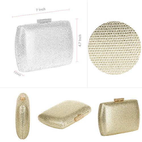 Strap Handbag Clutch Glitter Chain Rhinestones Purse Gold WALLYN'S Evening Womens Prom qUtz4TO