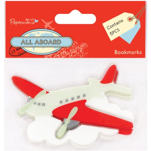DOCrafts Papermania All Aboard Bookmarks 5/Pkg-Airplane
