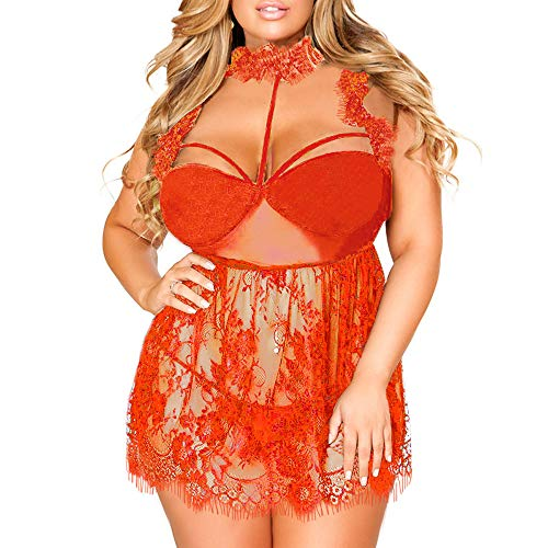 Bra Ruffled Lace (New!! Women Sexy Lingerie Compatible Ladies Plus Size Eyelash Lace Ruffled Lace Mesh High Neck Babydoll (2XL, Red))