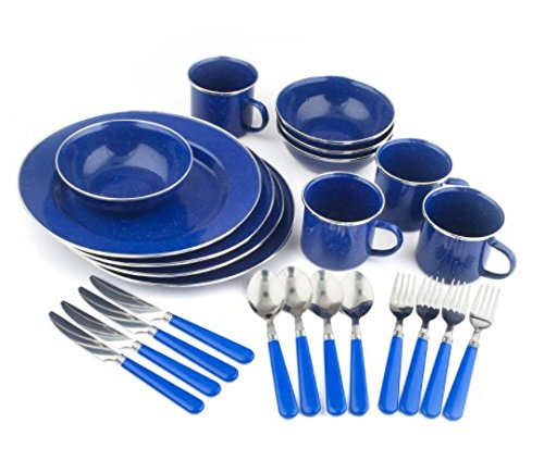 Enamel Camping Tableware (Blue 24-Piece Camping Tableware Set Strong Outdoor Lightweight Stainless Steel Edges Double Coated Glaze Enamel Motor Vehicle Home Kitchen Cabin Culinary Compact Cup Spoon Fork Knife Flatware Dishes)