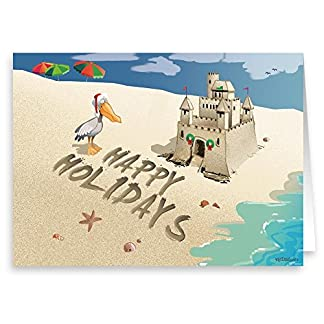 holiday sand castle beach holiday cards 18 - Beach Christmas Cards
