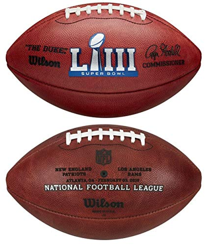 (Wilson Super Bowl 53 LIII Official NFL Leather Game Football - New in Wilson Box - with Patriots & Rams engraved on ball)
