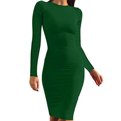 Mokoru Women's Casual Basic Pencil Dress Sexy Long Sleeve Bodycon Midi Club Dress: Clothing