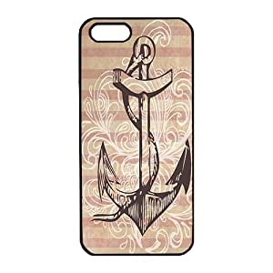 iPhone 5S Case,iPhone 5 Case,Mordern Anchor Quote Anti Slip Hard PC Black Phone Case Cover for Apple iPhone 5 5S with Slim Flexible Durable Stylish for girls/boys by icecream design