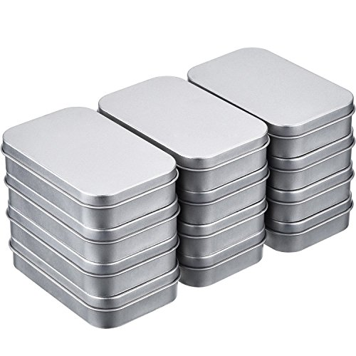 24 Pack 3.75 by 2.45 by 0.8 inch Silver Metal Rectangular Empty Hinged Tins Box Containers Mini Portable Box Small Storage Kit, Home Organizer - Silver Plated Lid
