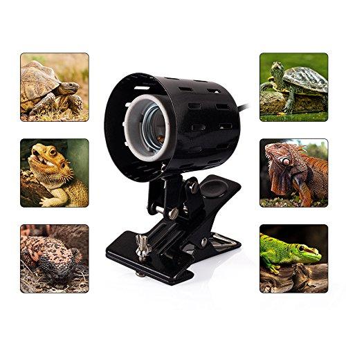 REPTI ZOO Reptile Lamp Holder,360-degree Rotating Adjustable Clamp Lamp Fixture for Habitat Lighting /& Heat Lamp