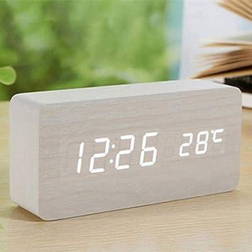 Mesa Pequeña Radio Reloj Despertador Digital infantil, madera Alarm Clock Despertador analógico con pantalla LED