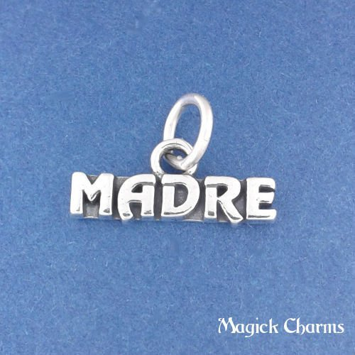 Sterling Silver MADRE Spanish Mom Or Mother Charm Pendant Jewelry Making Supply Pendant Bracelet DIY Crafting by Wholesale Charms