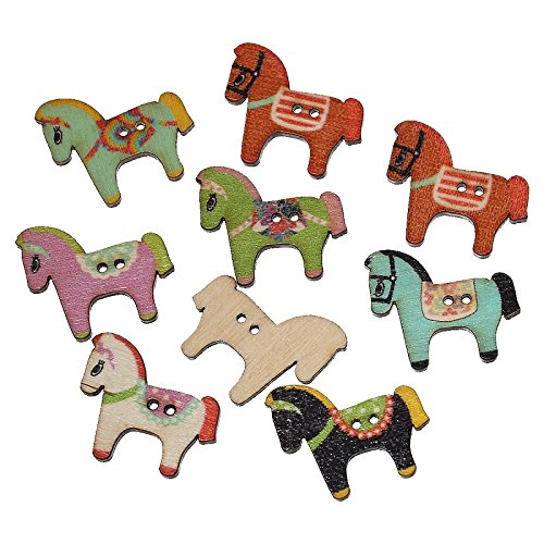Funnytoday365 100Pcs Mixed Color Cute Horse Craft Wooden Buttons 2-Hole Sewing DIY Scrapbooking Decoration Garment Accessories ()