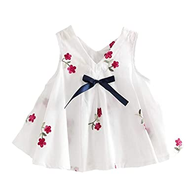 0eba92406b Binggong Sweet Robe Fille Mode Pastèque Broderie Bohême Robe de Plage Bebe  Fille Ete Printemps Casual