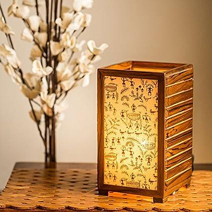 Buy ExclusiveLane Teak Wood Warli Hand Painted Table Lamp Indoor New Home Decorative Item