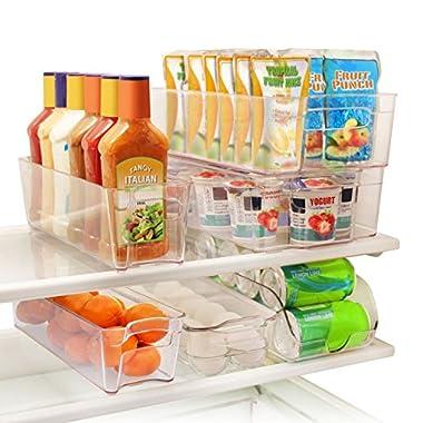 Greenco 6 Piece Refrigerator and Freezer Stackable Storage Organizer Bins with Handles, Clear