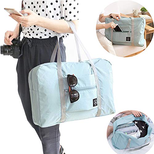 Women Men Foldable Travel Duffel Bag Luggage Sports Gym Water Resistant Nylon Carry-On Luggage Travel Totes Duffel Bag (Light Blue)