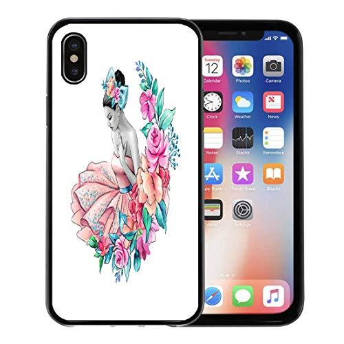 (Emvency Phone Case for Apple iPhone Xs case,Ballet Watercolor Flower Girl Floral Wedding Young Lady Portrait Pink Dress Ballerina Beautiful for iPhone X Case,Rubber Border Protective)