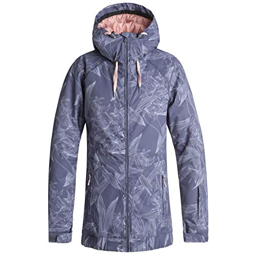 Roxy Snow Junior's Valley Hoodie Snow Jacket, Crown Blue_Washed Floral, M (Roxy Hooded Jacket)
