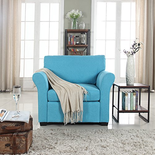 Classic and Traditional Linen Fabric Accent Chair – Living Room Armchair (Blue)