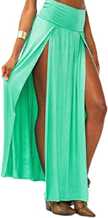 dahuo - Falda larga para mujer con dos aberturas en color liso ...
