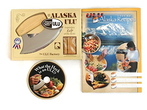 Design Mincing Board (Alaska Ulu Knife Bundle With Ulu DVD and Ulu Cookbook. This Ulu Knife Can Be Used As Mezzaluna Chopper, Best Valentines Day Gifts)